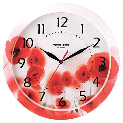 Часы настенные Troyka, цвет: красный. 1100000994672Настенные кварцевые часы Troyka с изображением маков, изготовленные из пластика, прекрасно подойдут под интерьер вашего дома. Круглые часы имеют три стрелки: часовую, минутную и секундную, циферблат защищен прозрачным пластиком.Диаметр часов: 29 см.Часы работают от 1 батарейки типа АА напряжением 1,5 В. Внимание! Часы укомплектованы бесплатным тестовым элементом питания для обеспечения их работоспособности при предпродажной подготовке и демонстрации рабочих функций.