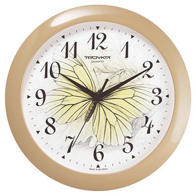 Часы настенные Troyka, цвет: бежевый. 1113517043408Настенные кварцевые часы Troyka с изображением бабочки, изготовленные из пластика, прекрасно подойдут под интерьер вашего дома. Круглые часы имеют три стрелки: часовую, минутную и секундную, циферблат защищен прозрачным пластиком.Диаметр часов: 29 см.Часы работают от 1 батарейки типа АА напряжением 1,5 В. Внимание! Часы укомплектованы бесплатным тестовым элементом питания для обеспечения их работоспособности при предпродажной подготовке и демонстрации рабочих функций.