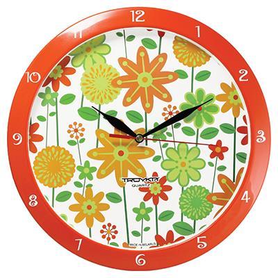 Часы настенные Troyka, цвет: оранжевый. 11151120300194_сиреневый/грушаНастенные кварцевые часы Troyka с изображением цветов, изготовленные из пластика, прекрасно подойдут под интерьер вашего дома. Круглые часы имеют три стрелки: часовую, минутную и секундную, циферблат защищен прозрачным пластиком.Диаметр часов: 29 см.Часы работают от 1 батарейки типа АА напряжением 1,5 В. Внимание! Часы укомплектованы бесплатным тестовым элементом питания для обеспечения их работоспособности при предпродажной подготовке и демонстрации рабочих функций.