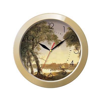 Часы настенные Troyka, цвет: бежевый. 1117117518032Настенные кварцевые часы Troyka с изображением пейзажа, изготовленные из пластика, прекрасно подойдут под интерьер вашего дома. Круглые часы имеют три стрелки: часовую, минутную и секундную, циферблат защищен прозрачным пластиком.Диаметр часов: 29 см.Часы работают от 1 батарейки типа АА напряжением 1,5 В. Внимание! Часы укомплектованы бесплатным тестовым элементом питания для обеспечения их работоспособности при предпродажной подготовке и демонстрации рабочих функций.