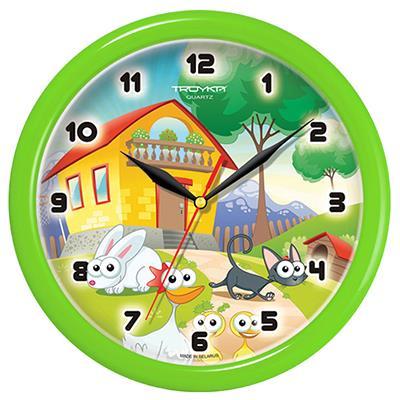 Часы настенные Troyka, цвет: зеленый. 21221224Н0232Настенные кварцевые часы Troyka с изображением домика и животных, изготовленные из пластика, прекрасно подойдут под интерьер вашего дома. Круглые часы имеют три стрелки: часовую, минутную и секундную, циферблат защищен прозрачным пластиком.Диаметр часов: 24,5 см.Часы работают от 1 батарейки типа АА напряжением 1,5 В. Внимание! Часы укомплектованы бесплатным тестовым элементом питания для обеспечения их работоспособности при предпродажной подготовке и демонстрации рабочих функций.
