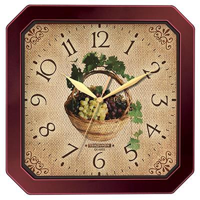 Часы настенные Troyka, цвет: коричневый. 3133131198293777Настенные кварцевые часы Troyka с изображением корзины винограда, изготовленные из пластика, прекрасно подойдут под интерьер вашего дома. Квадратные часы имеют три стрелки: часовую, минутную и секундную, циферблат защищен прозрачным пластиком.Размер часов: 29 см х 29 см х 3,5 см.Часы работают от 1 батарейки типа АА напряжением 1,5 В. Внимание! Часы укомплектованы бесплатным тестовым элементом питания для обеспечения их работоспособности при предпродажной подготовке и демонстрации рабочих функций.