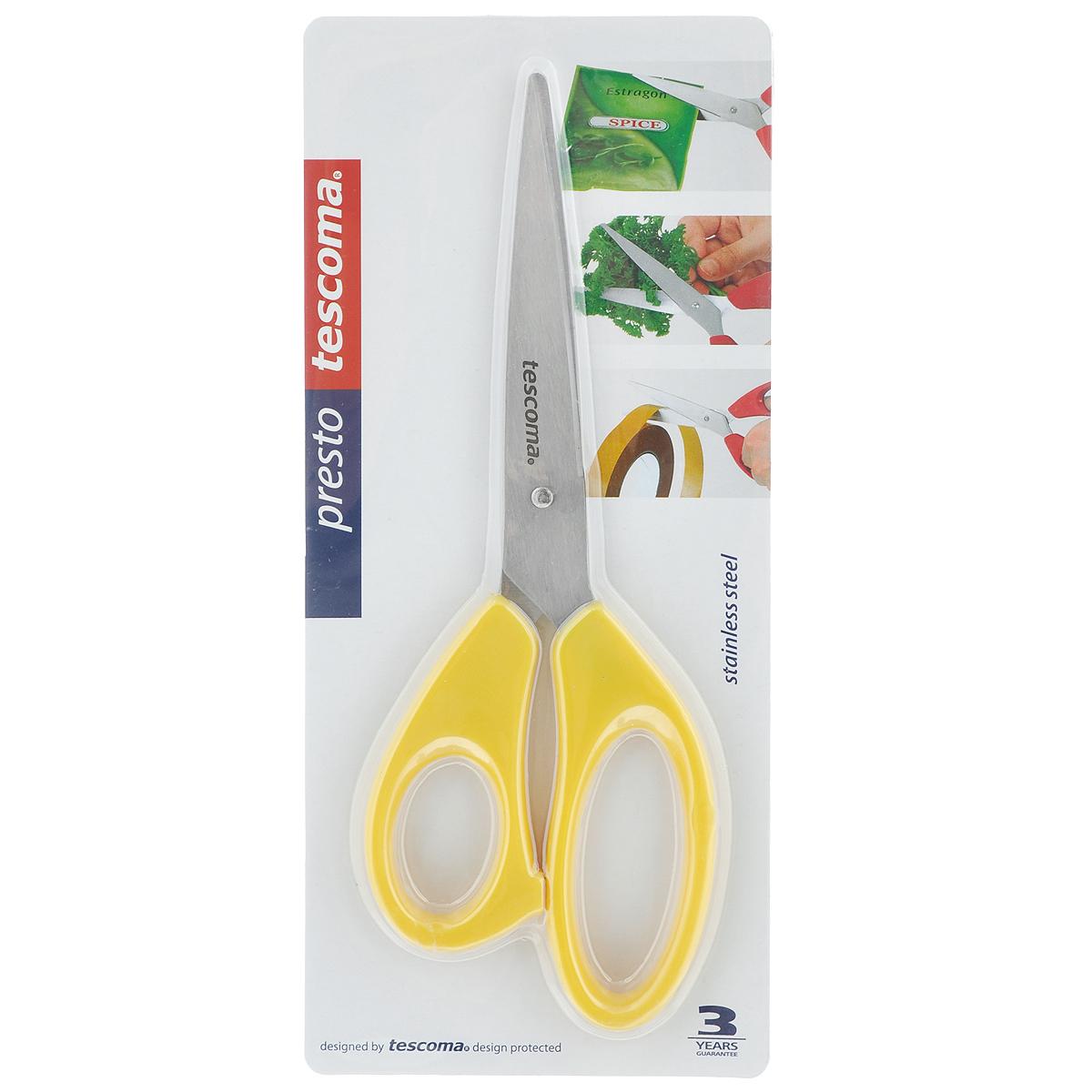 Ножницы Tescoma Presto, цвет: желтый, длина 22 см115510Универсальные ножницы Tescoma Presto предназначены для дома и офиса, пригодны для резки всех обычных материалов - бумаги, ткани и т.д. Ими также удобно нарезать зелень, разрезать пакеты. Лезвия изготовлены из первоклассной нержавеющей стали, а рукоятки - из пластика. Длина ножниц: 22 см.