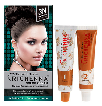 Richenna Крем-краска для волос, с хной, оттенок 3N Темно-коричневый29000Крем-краска для волос Richenna с хной позволяет уменьшить повреждение волос, сделать их эластичными и здоровыми, придать волосам живой цвет и красивый блеск. Не раздражая кожу, крем-краска полностью закрашивает седину и обладает приятным цветочным ароматом.Рекомендуется для безопасного изменения цвета волос, полного окрашивания седых волос и в случае повышенной чувствительности к искусственным компонентам краски для волос.Благодаря кремовой текстуре хорошо наносится и не течет.Время окрашивания 20-30 минут.Упаковка средства в 2-х отдельных тубах позволяет использовать средство несколько раз в зависимости от объема и длины волос.Объем крема-краски 60 г, объем крема-окислителя 60 г, объем шампуня с хной 10 мл, объем кондиционера с хной 7 мл.В комплекте: 1 тюбик с крем-краской, 1 тюбик с крем-окислителем, пакетик с шампунем, пакетик с кондиционером, 1 пара перчаток, накидка, пластиковая тара, расческа-кисточка для нанесения и распределения крем-краски и инструкция по применению.Товар сертифицирован.