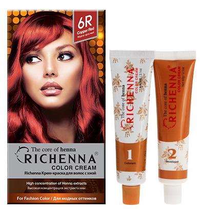 Крем-краска для волос Richenna с хной, 6R. Медно-красный29008Крем-краска для волос Richenna с хной рекомендуется для безопасного изменения цвета волос, полного окрашивания седых волос и в случае повышенной чувствительности к искусственным компонентам краски для волос. Высокая концентрация экстракта хны в составе крем-краски позволяет уменьшить повреждение волос, сделать их эластичными и здоровыми, придает волосам живой цвет и красивый блеск. Не раздражая кожу, крем-краска полностью закрашивает седину и обладает приятным цветочным ароматом. Упаковка средства в 2-х отдельных тубах позволяет использовать средство несколько раз в зависимости от объема и длины волос. Благодаря кремовой текстуре хорошо наносится и не течет. Время окрашивания 20-30 мин. Характеристики:Номер краски: 6R.Цвет: медно-красный.Объем крем-краски: 60 г.Объем крем-окислителя: 60 г.Объем шампуня с хной: 10 мл.Объем кондиционера с хной: 7 мл.Производитель: Корея.В комплекте: 1 тюбик с крем-краской, 1 тюбик с крем-окислителем, 1 пакетик с шампунем, 1 пакетик с кондиционером, 1 пара перчаток, накидка, пластиковая тара, расческа-кисточка для нанесения и распределения крем-краски и инструкция по применению. Товар сертифицирован.Внимание! Продукт может вызвать аллергическую реакцию, которая в редких случаях может нанести серьезный вред вашему здоровью. Проконсультируйтесь с врачом-специалистом передприменением любых окрашивающих средств.