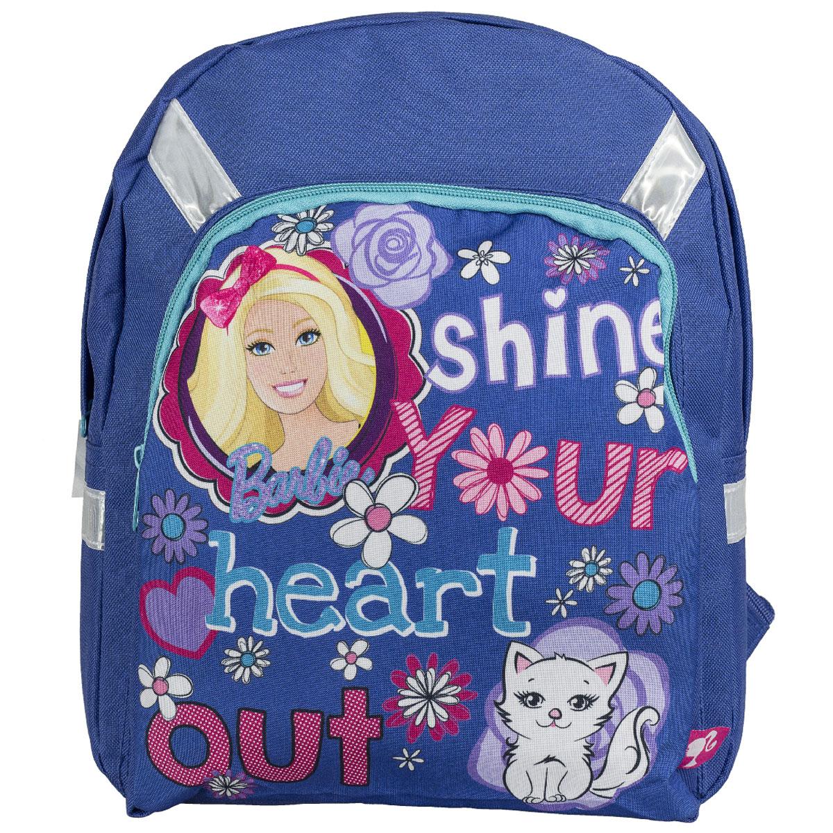Рюкзак детский Barbie, цвет: синий. BRCB-UT4-55872523WDДетский рюкзак Barbie обязательно привлечет внимание вашей девочки. Выполнен из прочного и безопасного материала и дополнен изображением милой Барби с кошечкой.Содержит одно вместительное отделение, закрывающееся на застежку-молнию. Лицевая сторона оснащена накладным карманом на молнии. Широкие лямки отлично регулируются по длине. Также у рюкзака предусмотрена текстильная ручка для переноски в руке. Светоотражающие элементы обеспечивают безопасность в темное время суток.Такой рюкзак порадует глаз и подарит отличное настроение вашему ребенку, который будет с удовольствием носить в нем свои вещи или любимые игрушки.Рекомендуемый возраст: от 7 лет.