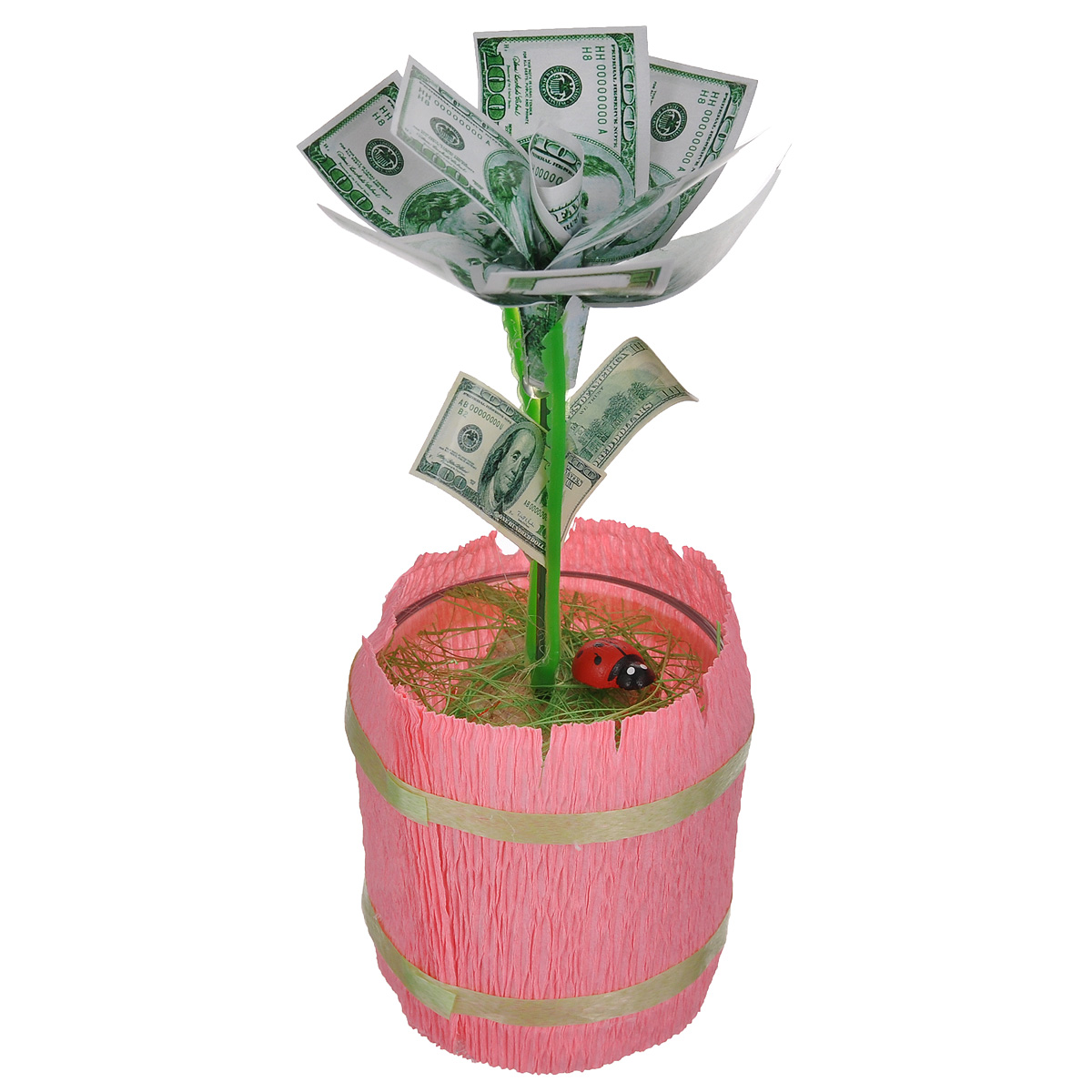 Денежный цветок Расцвет бизнеса. Доллары, цвет: розовый, зеленый, белыйБрелок для ключейНастольная композиция Расцвет бизнеса. Доллары выполнена в виде симпатичного денежного цветка. На пластиковый стебель цветка насажены миниатюрные купюры достоинством в 100 долларов. Цветок закреплен в стеклянном стакане-горшочке, оформленном гофрированной бумагой. У основания цветка расположена забавная божья коровка.Такой симпатичный денежный цветок будет отличным подарком к любому случаю! Высота цветка: 14 см. Диаметр цветка: 6 см.