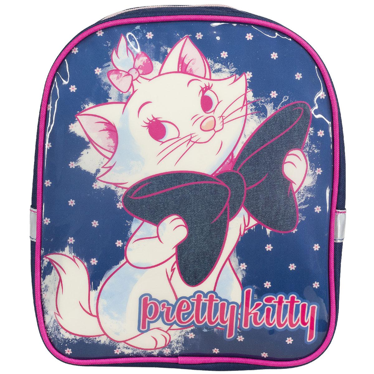 Рюкзак детский Marie Cat, цвет: темно-синий, розовый. MCCB-UT1-51172523WDДетский рюкзак Marie Cat - это незаменимая вещь для прогулок и повседневных дел, в нем можно разместить самые важные вещи. Пусть у вашего ребенка тоже будет свой собственный рюкзак. Выполнен из прочных и безопасных материалов. Передняя панель украшена ярким изображением милой кошечки с бантиком. У модели одновместительное отделение на застежке-молнии. Широкие лямки можно свободно регулировать по длине в зависимости от роста ребенка. Рюкзак оснащен текстильной ручкой для переноски в руке. Светоотражающие элементы обеспечивают безопасность в темное время сутокРекомендуемый возраст: от 7 лет.