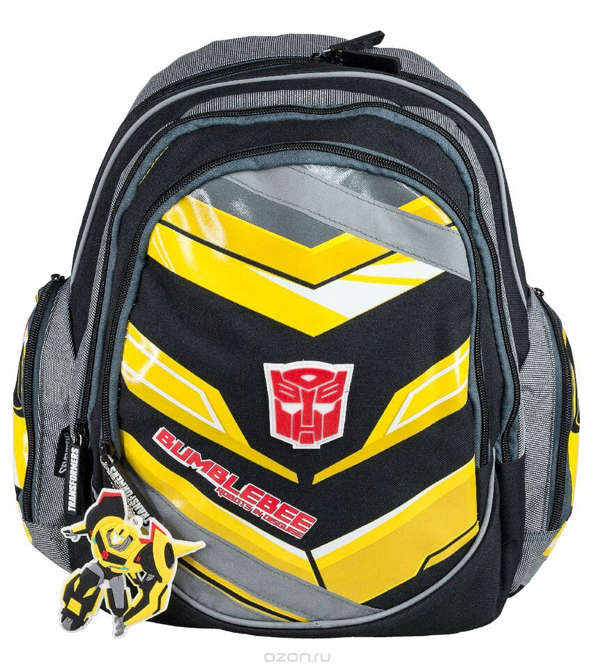 Рюкзак школьный Transformers Prime, цвет: черный, серый, желтый. TRCB-RT2-976ММ-423-3/3Рюкзак школьный Transformers Prime обязательно понравится вашему школьнику. Выполнен из прочных и высококачественных материалов, дополнен брелоком в виде трансформера.Содержит два вместительных отделения, закрывающиеся на застежки-молнии. Внутри большого отделения находится перегородка для тетрадей или учебников, а также прорезной карман на молнии. Лицевая сторона оснащена накладным карманом на молнии. Внутри данного кармана расположены три открытых кармашка, один карман на молнии и два отделения для пишущих принадлежностей. По бокам расположены два накладных кармана на застежке-молнии. Специально разработанная архитектура спинки со стабилизирующими набивными элементами повторяет естественный изгиб позвоночника. Набивные элементы обеспечивают вентиляцию спины ребенка. Мягкие широкие лямки позволяют легко и быстро отрегулировать рюкзак в соответствии с ростом. Конструкция пряжки лямок позволяет отрегулировать рюкзак по фигуре. Рюкзак оснащен текстильной ручкой для удобной переноски в руке. Светоотражающие элементы обеспечивают безопасность в темное время суток.Многофункциональный школьный рюкзак станет незаменимым спутником вашего ребенка в походах за знаниями.Вес рюкзака без наполнения: 700 г.Рекомендуемый возраст: от 7 лет.