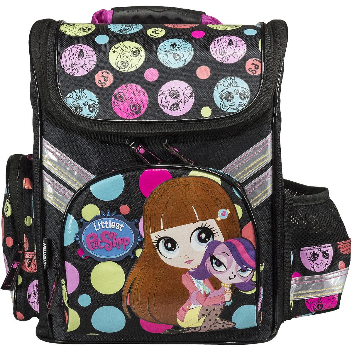 Набор школьницы Littlest Pet Shop. LPCS-UT1-31BOX11359593Вашему вниманию предлагается все самое необходимое для школьника в одном наборе. В состав набора входит рюкзак, пенал и сумка-рюкзак для обуви, выполненные в одном стиле.Школьный ранец выполнен из износоустойчивых материалов с водонепроницаемой основой, декорирован аппликацией и наклейками в стиле мультфильма Littlest Pet Shop.Ранец имеет одно основное отделение, закрывающееся на молнию с двумя бегунками. Ранец полностью раскладывается. Внутри отделения расположены два разделителя с утягивающей резинкой, предназначенные для размещения предметов без сложения, размером до формата А4 включительно. На лицевой стороне ранца расположен накладной карман на молнии. По бокам ранца размещены два дополнительных накладных кармана, один на застежке-молнии и один открытый. Рельеф спинки ранца разработан с учетом особенности детского позвоночника.Ранец оснащен удобной ручкой для переноски и двумя широкими лямками регулируемой длины. Дно ранца защищено пластиковыми ножками.Сумка-рюкзак для обуви с одним отделением. Сумка выполнена из прочного водонепроницаемого полиэстера и содержит одно вместительное отделение, затягивающееся с помощью текстильных шнурков. Шнурки фиксируются в нижней части сумки, благодаря чему ее можно носить за спиной как рюкзак. Размер сумки: 41 х 34. Пенал твердый на молнии с одним отделением и дополнительным клапаном. Внутри пенала 21 отделение под пишущие принадлежности и 9 отделений на клапане. Размер пенала: 21 х 14 х 4.
