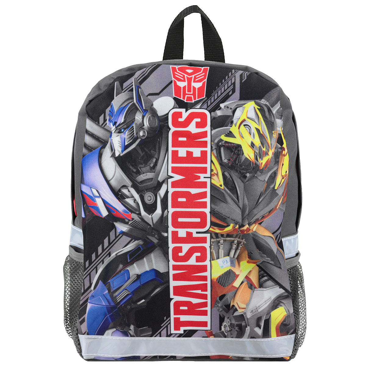 Рюкзак детский Transformers Prime, цвет: серый, черный. TRCB-UT4-56672523WDСтильный и компактный детский рюкзак Transformers Prime обязательно привлечет внимание вашего ребенка. Выполнен из прочного и безопасного материала и дополнен изображением трансформеров.Содержит одно вместительное отделение, закрывающееся на застежку-молнию. Внутри отделения имеется мягкая перегородка. По бокам рюкзака находятся два кармана-сетка. Широкие лямки отлично регулируются по длине. Также у рюкзакапредусмотрена текстильная ручка для переноски в руке. Светоотражающие элементы обеспечивают безопасность в темное время суток.Такой рюкзак порадует глаз и подарит отличное настроение вашему ребенку, который будет с удовольствием носить в нем свои вещи или любимые игрушки.Рекомендуемый возраст: от 7 лет.