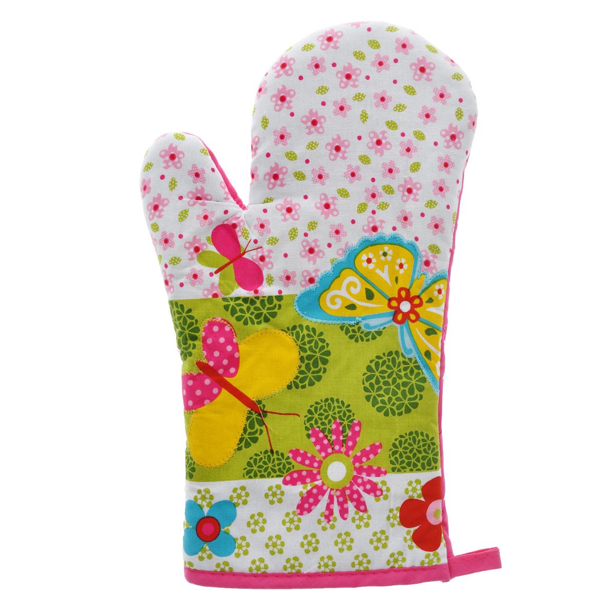 Рукавица-прихватка LaSella, цвет: белый, розовый, зеленый, 30 см. MT002009VT-1520(SR)Рукавица-прихватка LaSella изготовлена из хлопка. Эта рукавица с ярким дизайном защитит ваши руки от высоких температур и предотвратит появление ожогов. Изделие оснащено петелькой для подвешивания на крючок. Такая рукавица - отличный вариант для практичной и современной хозяйки.