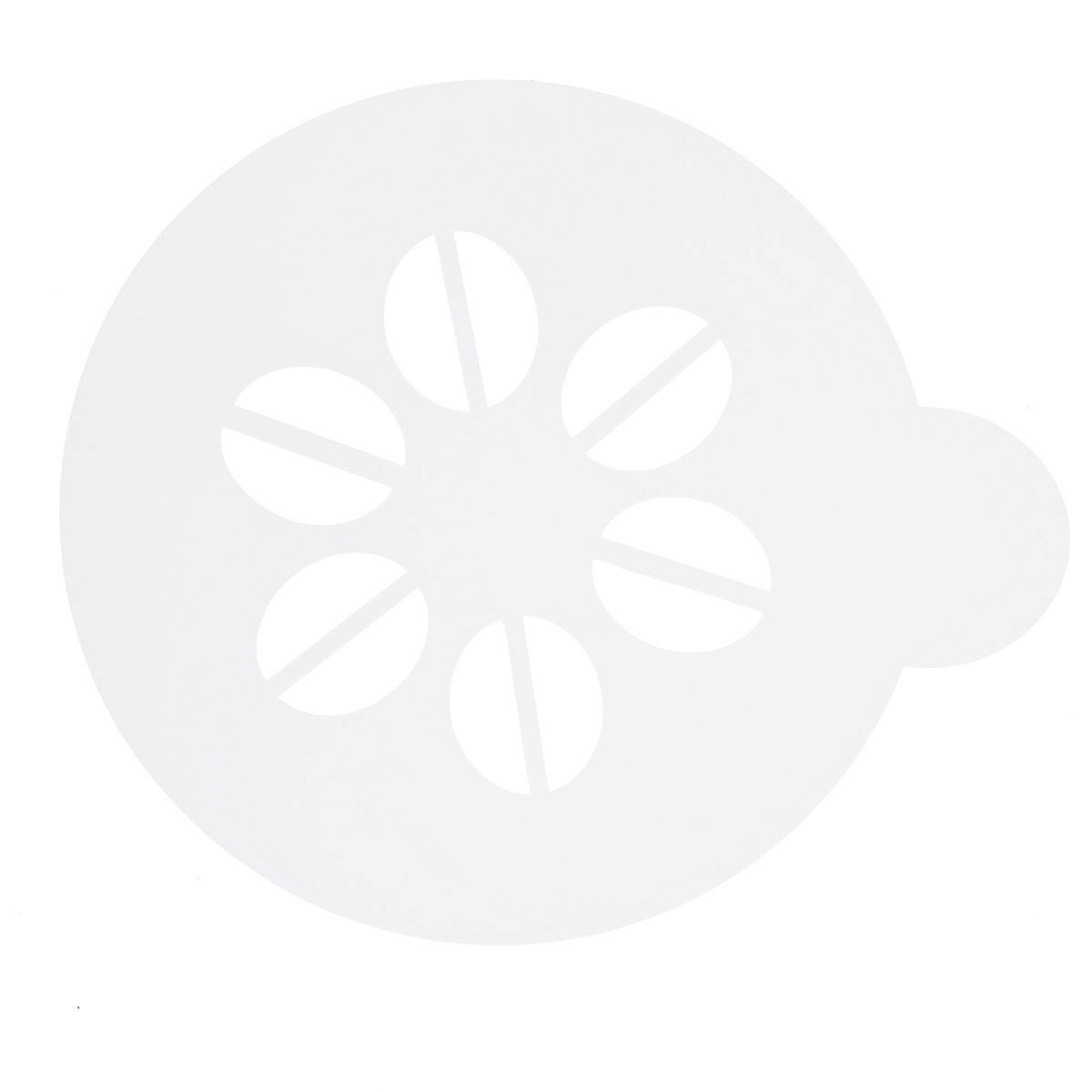 Трафарет на кофе и десерты Леденцовая фабрика Зерна кофе, диаметр 10 смFS-91909Трафарет представляет собой пластину с прорезями, через которые пищевая краска (сахарная пудра, какао, шоколад, сливки, корица, дробленый орех) наносится на поверхность кофе, молочных коктейлей, десертов. Трафарет изготовлен из матового пищевого пластика 250 мкм и пригоден для контакта с пищевыми продуктами. Трафарет многоразовый. Побалуйте себя и ваших близких красиво оформленным кофе.