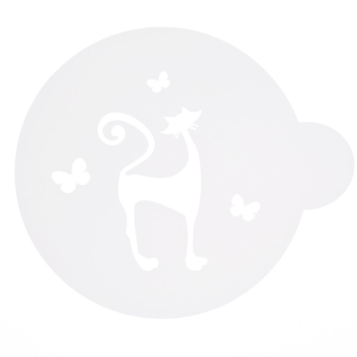 Трафарет на кофе и десерты Леденцовая фабрика Кошечка и бабочки, диаметр 10 см633028Трафарет представляет собой пластину с прорезями, через которые пищевая краска (сахарная пудра, какао, шоколад, сливки, корица, дробленый орех) наносится на поверхность кофе, молочных коктейлей, десертов. Трафарет изготовлен из матового пищевого пластика 250 мкм и пригоден для контакта с пищевыми продуктами. Трафарет многоразовый. Побалуйте себя и ваших близких красиво оформленным кофе.