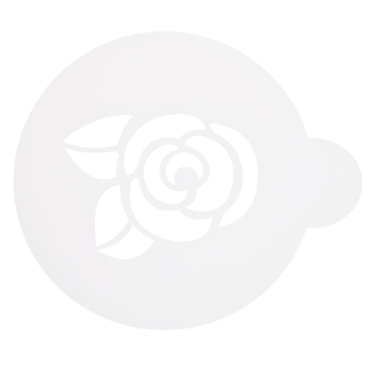 Трафарет на кофе и десерты Леденцовая фабрика Розочка, диаметр 10 см трафарет на кофе и десерты леденцовая фабрика кошка с рыбой диаметр 10 см