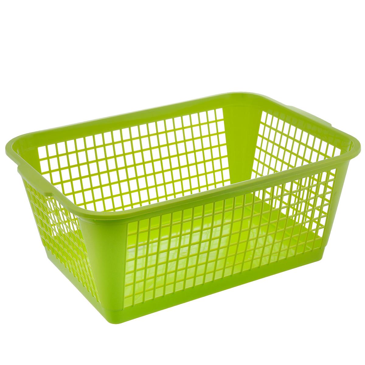 Корзина Gensini, цвет: салатовый, 50 лTD 0033Универсальная корзина Gensini, выполненная из полипропилена, предназначена для хранения мелочей в ванной, на кухне, даче или гараже. Позволяет хранить мелкие вещи, исключая возможность их потери. Легкая воздушная корзина с жесткой кромкой, с узором из отверстий в форме прямоугольников.