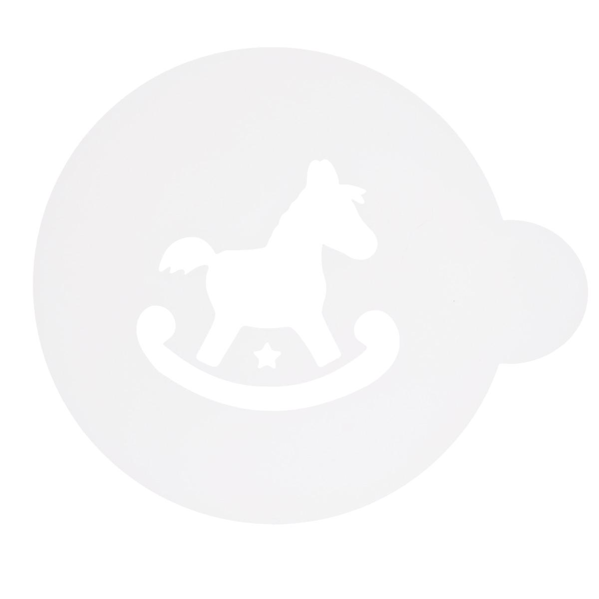 Трафарет на кофе и десерты Леденцовая фабрика Лошадка, диаметр 10 см68/5/3Трафарет представляет собой пластину с прорезями, через которые пищевая краска (сахарная пудра, какао, шоколад, сливки, корица, дробленый орех) наносится на поверхность кофе, молочных коктейлей, десертов. Трафарет изготовлен из матового пищевого пластика 250 мкм и пригоден для контакта с пищевыми продуктами. Трафарет многоразовый. Побалуйте себя и ваших близких красиво оформленным кофе.