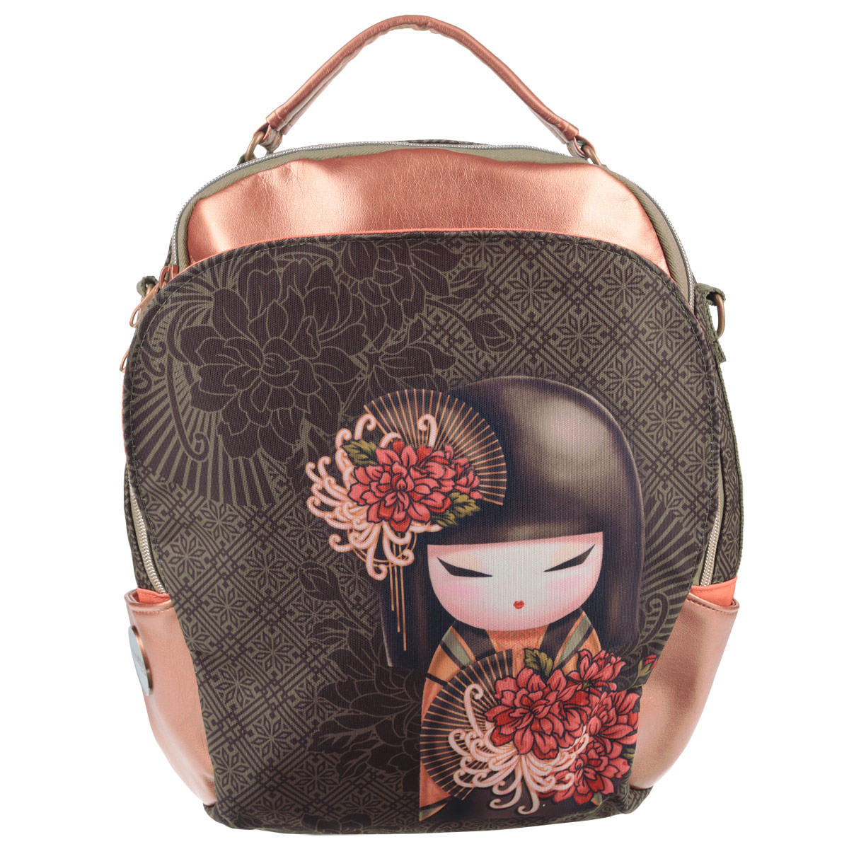 Сумка-рюкзак молодежная Kimmidoll, цвет: бронзовый, темно-серый6968201408Универсальная молодежная сумка-рюкзак Kimmidoll выполнена из высококачественных материалов и оформлена красочным изображением японской куколки с цветком.Модель содержит одно вместительное отделение на застежке-молнии. Внутри отделения находятся прорезной карман на молнии и два открытых кармашка. Фронтальный карман с клапаном на магнитах. Задняя стенка сумки-рюкзака оснащена прорезным карманом на молнии. По бокам изделия находятся открытые карманы. Сумка оснащена удобной ручкой для переноски в руке, а также плечевым ремнем, с помощью которого сумку-рюкзак можно носить на плече и как рюкзак.Такую сумку-рюкзак можно использовать для повседневных прогулок, отдыха и спорта, а также как элемент вашего имиджа.Рекомендуемый возраст: от 12 лет.