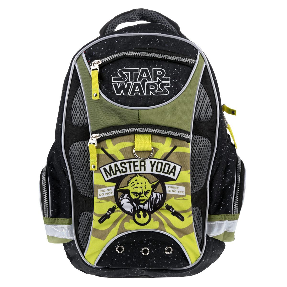 Рюкзак школьный Star Wars Master Yoda, цвет: черный, зеленый730396Рюкзак школьный Star Wars Master Yoda обязательно привлечет внимание вашего школьника. Рюкзак изготовлен из высококачественных и прочных материалов, дополнен изображением главного персонажа Звездных войн Йоды.Рюкзак содержит одно вместительное отделение на застежке-молнии с двумя бегунками. Внутри отделения расположен прорезной карман на молнии, а также четыре открытых кармана, карман-сетка на молнии и отделение для мобильного телефона, закрывающееся клапаном на липучке. На лицевой стороне находятся два прорезных кармана на застежке-молнии. По бокам рюкзака расположены два накладных кармана на молнии. Конструкция спинки дополнена эргономичными подушечками, противоскользящей сеточкой и системой вентиляции для предотвращения запотевания спины ребенка. Мягкие широкие лямки позволяют легко и быстро отрегулировать рюкзак в соответствии с ростом. Рюкзак оснащен текстильной ручкой для удобной переноски в руке. Дно с пластиковыми ножками обеспечивает ранцу хорошую устойчивость и защиту от загрязнений. Светоотражающие элементы обеспечивают безопасность в темное время суток.Многофункциональный школьный рюкзак станет незаменимым спутником вашего ребенка в походах за знаниями.Рекомендуемый возраст: от 6 лет.