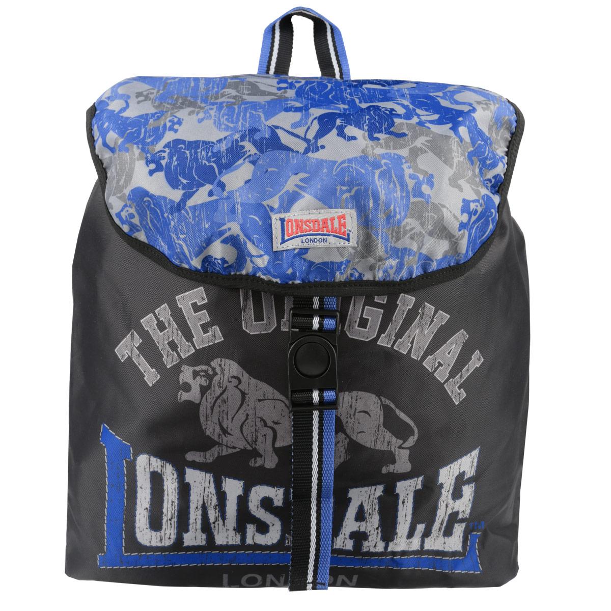 Рюкзак молодежный Lonsdale, цвет: черный, серый, голубой. LSCB-UT1-844MABLSEH10001Молодежный рюкзак Lonsdale сочетает в себе современный дизайн и долговечность. Выполнен из прочных и высококачественных материалов с изображением льва.Содержит рюкзак одно вместительное отделение, которое затягивается шнурком с пластиковым фиксатором и сверху закрывается клапаном на защелке. Широкие лямки отлично регулируются по длине. Изделие оснащено текстильной ручкой для переноски в руке. Этот рюкзак можно использовать для повседневных прогулок, отдыха и спорта, а также как элемент вашего имиджа.Рекомендуемый возраст: от 15 лет.