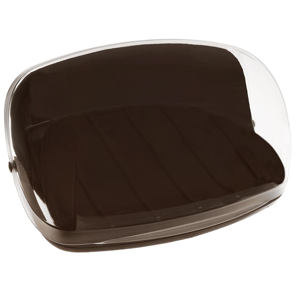 Хлебница Idea, цвет: коричневый, прозрачный, 31 х 24,5 х 14 см22182Хлебница Idea изготовлена из пищевого пластика и оснащена прозрачной крышкой, позволяющей видеть содержимое. Вместительность, функциональность и стильный дизайн позволят хлебнице стать не только незаменимым аксессуаром на кухне, но и предметом украшения интерьера. В ней хлеб всегда останется свежим и вкусным.