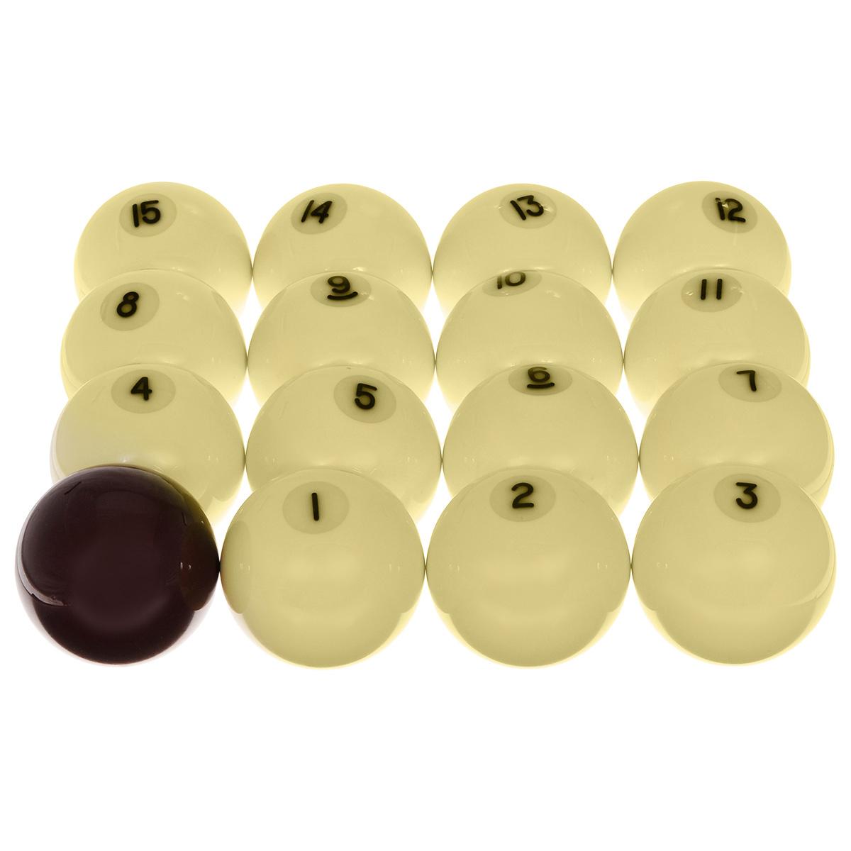 Шары бильярдные Aramith Standard Pyramid, бордовый биток, 68 мм00005Бильярдные шары Aramith Standard Pyramid 68 мм - золотая середина сочетания цены и качества. Производятся только фирмой Saluc, Бельгия. Дополнительная гладкая поверхность, которая минимизирует изнашивание сукна и служит для исключительной долговечности ткани. Гарантированные без полиэстера, настоящие феноло-альдегидные шары обладают всеми свойствами, которые ожидает требовательный игрок. Постоянная плотность и равновесие обеспечивают четкий контроль скорости, вращения и точность отскока шара.Описание комплекта:Шаров в комплекте: 16.Вид бильярда: русская пирамида.Цвет битка: бордовый.