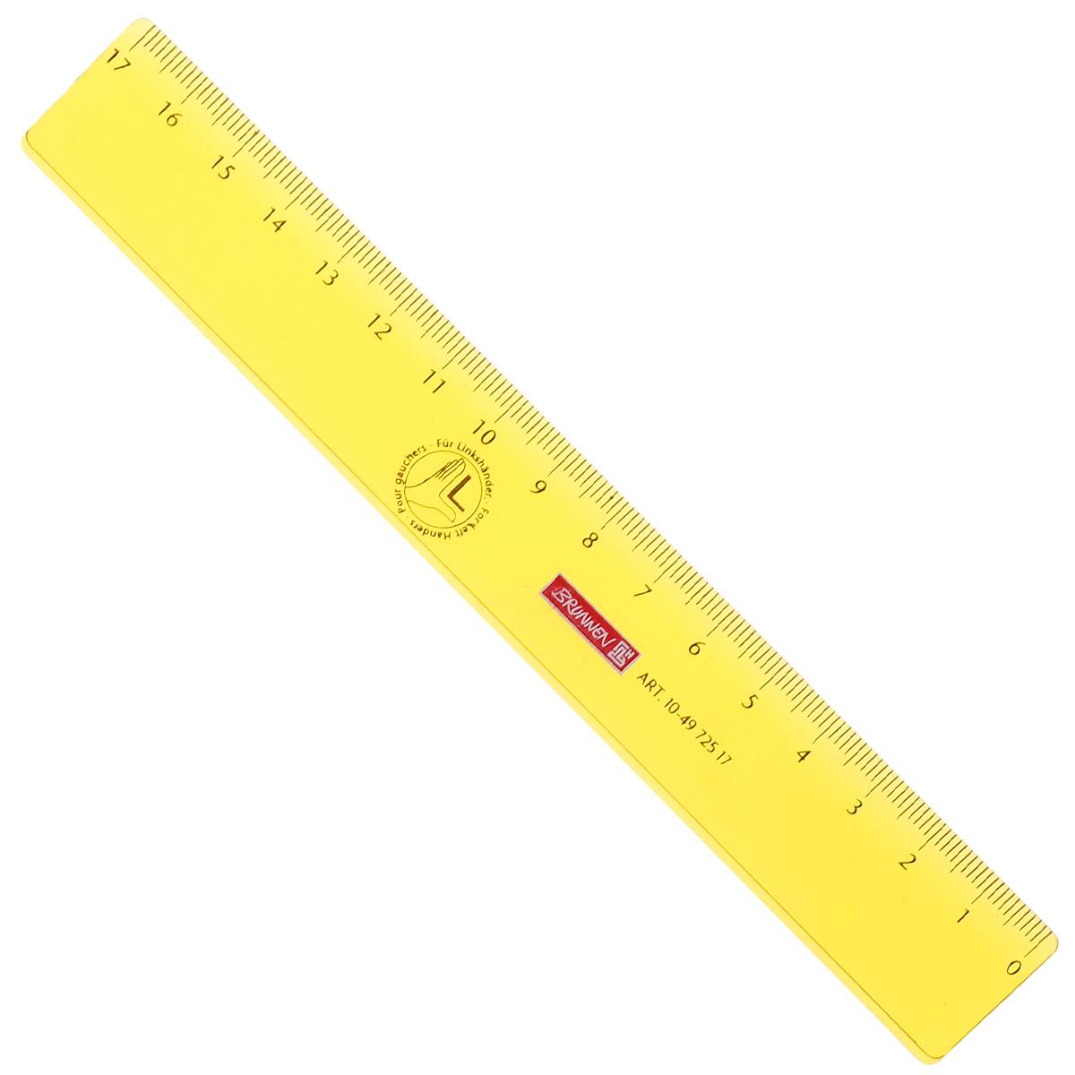 Линейка для левши Brunnen, цвет: желтый, 17 см72523WDЛинейка Brunnen, длиной 17 см, выполнена из прозрачного пластика желтого цвета. Линейка предназначена специально для левшей. Шкала на линейке расположена справа налево. Линейка Brunnen - это незаменимый атрибут, необходимый школьнику или студенту, упрощающий измерение и обеспечивающий ровность проводимых линий.