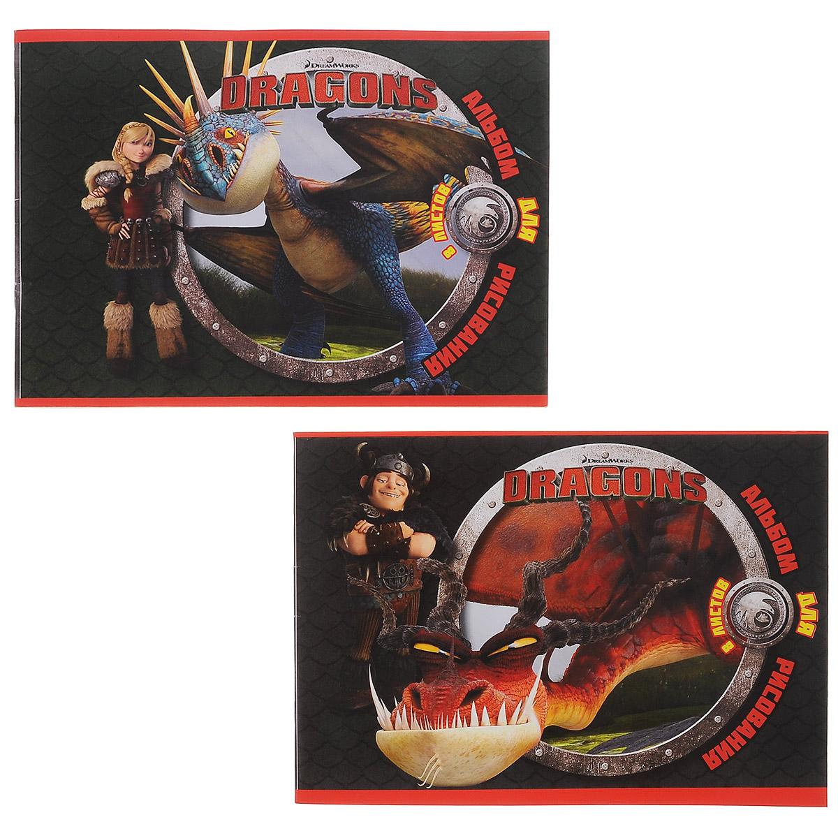 Набор альбомов для рисования Action! Dragons, 8 листов, 2 шт72523WDАльбом для рисования Action! Dragons порадует маленького художника и вдохновит его на творчество. Набор включает в себя 2 альбома, в каждом из которых по 8 листов белой бумаги. Высокое качество бумаги позволяет рисовать в альбоме карандашами, фломастерами, акварельными и гуашевыми красками. Обложка альбома выполнена из мелованного картона и оформлена изображением героев мультфильма Как приучить дракона. Создание собственных картинок приносит детям настоящее удовольствие. Увлечение изобразительным творчеством носит не только развлекательный характер, а также развивает цветовое восприятие, зрительную память и воображение. Рекомендуемый возраст: от 6 лет.
