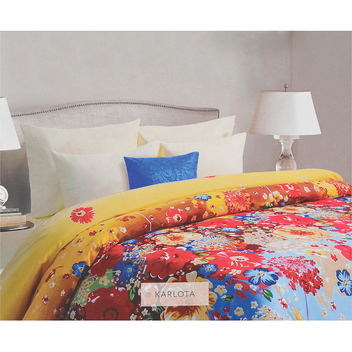 Комплект белья Mona Liza Karlota, 2-спальный, наволочки 50х70, цвет: желтый, голубой. 562205/5CA-3505Комплект белья Mona Liza Karlota, выполненный из батиста (100% хлопок), состоит из пододеяльника, простыни и двух наволочек. Изделия оформлены красивым цветочным рисунком. Батист - тонкая, легкая натуральная ткань полотняного переплетения. Ткань с незначительной сминаемостью, хорошо сохраняющая цвет при стирке, легкая, с прекрасными гигиеническими показателями.В комплект входит: Пододеяльник - 1 шт. Размер: 175 см х 210 см. Простыня - 1 шт. Размер: 215 см х 240 см. Наволочка - 2 шт. Размер: 50 см х 70 см. Рекомендации по уходу: - Ручная и машинная стирка 40°С, - Гладить при температуре не более 150°С, - Не использовать хлорсодержащие средства, - Щадящая сушка, - Не подвергать химчистке.