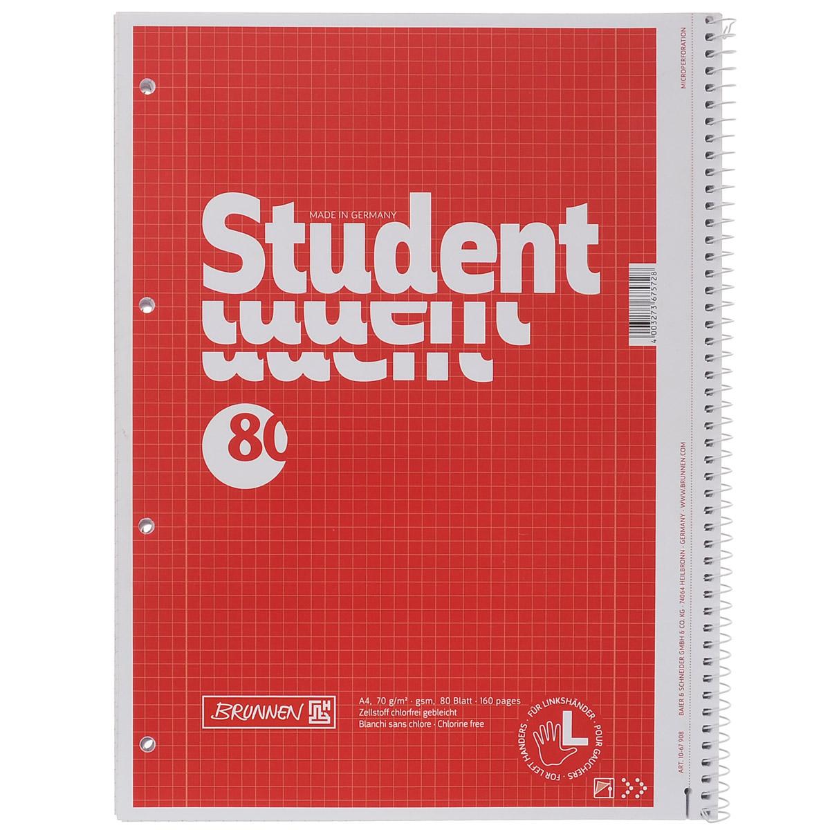 Тетрадь в клетку для левшей Brunnen, цвет: красный, 80 листов. Формат A46590/3_Серо-голубойТетрадь Brunnen, разработанная специально для левшей, предназначена для объемных записей и незаменима для старшеклассников и студентов.Обложка тетради выполнена из мелованного картона. Внутренний блок тетради состоит из 80 листов белой бумаги с линовкой в клетку и имеет крепление в виде спирали, которое находится справа. Все листы блока являются отрывными и снабжены микроперфорацией, а также стандартными отверстиями для подшивки в папки с кольцевым механизмом.