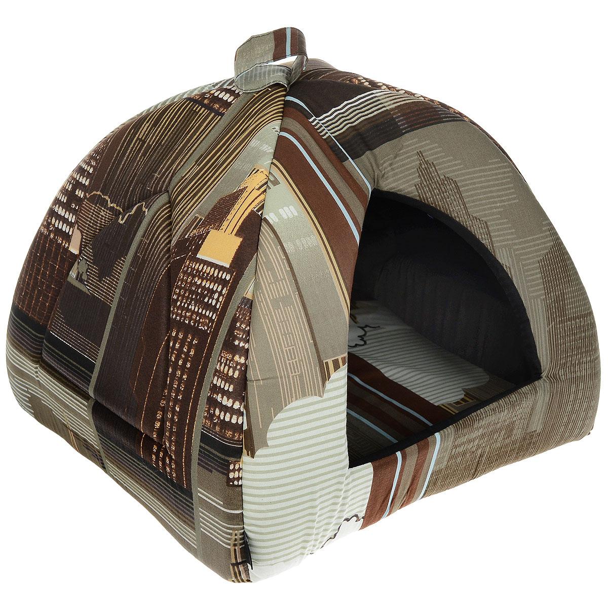 Домик для кошек и собак Гамма, цвет: темно-коричневый, 40 см х 40 см х 43 смTOP-8493Домик для кошек и собак Гамма обязательно понравится вашему питомцу. Домик предназначен для собак мелких пород и кошек. Изготовлен из хлопковой ткани с красивым принтом, внутри - мягкий наполнитель из мебельного поролона. Стежка надежно удерживает наполнитель внутри и не позволяет ему скатываться. Домик очень удобный и уютный, он оснащен мягкой съемной подстилкой из поролона.Ваш любимец сразу же захочет забраться внутрь, там он сможет отдохнуть и спрятаться. Компактные размеры позволят поместить домик, где угодно, а приятная цветовая гамма сделает его оригинальным дополнением к любому интерьеру. Размер подушки: 39 см х 39 см х 2 см. Внутренняя высота домика: 39 см. Толщина стенки: 2 см.