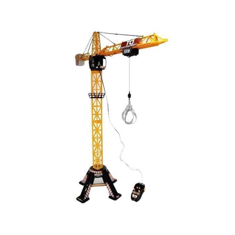Мега-кран Dickie, имеющий кабельное дистанционное управление - прекрасный сюрприз для маленького строителя. Разработан для деток от пяти лет и является копией настоящего крана. С помощью крана малыш сможет поднимать и перемещать груз. Высота крана 120 см. Левый рычаг на пульте управления поможет переместить грузовую тележку по стрелке подъемного крана. А правый рычаг необходим при регулировке поворота стрелы. Максимально возможный угол поворота - это 360 градусов. Кнопки на пульте нужны для регулировки высоты поднимаемого груза. В основании крана имеется широкая платформа для обеспечивания устойчивости крана. Для большей реалистичности кран оснащен световыми и звуковыми эффектами. Также имеется вместительная корзина для груза, которая цепляется за крючок. Игрушка изготвлена из прочного пластика, без запаха, безопасного для ребенка, имеет сертификаты качества и гигиены.