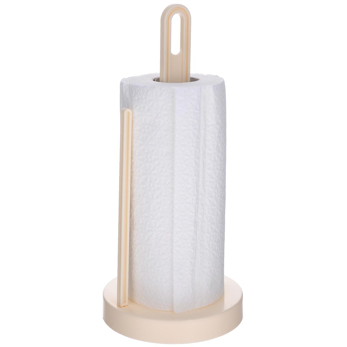 Держатель для бумажных полотенец Berossi Solo, цвет: слоновая костьАС19333000Держатель Berossi Solo, изготовленный из высококачественного пластика, предназначен для бумажных полотенец. Изделие имеет широкое основание и оснащено зажимом, позволяющим без труда оторвать нужную длину полотенца. В комплекте - рулон бумажных полотенец.Такой держатель станет полезным аксессуаром в домашнем быту и идеально впишется в интерьер современной кухни.