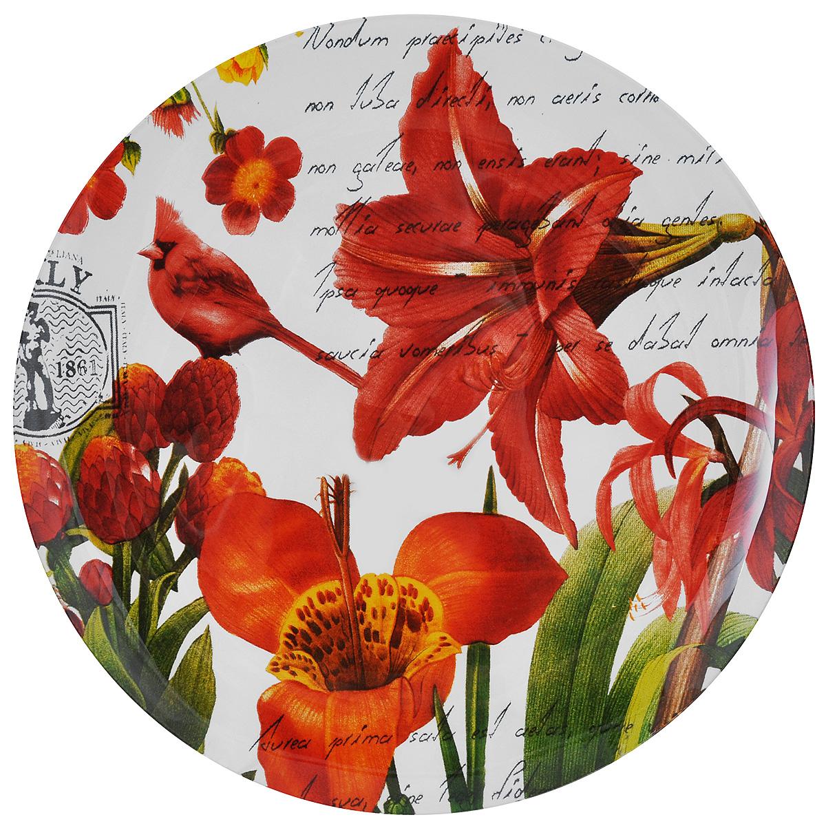 Тарелка Zibo Shelley Лилии, диаметр 25 см115510Круглая тарелка Zibo Shelley Лилии, изготовленная из стекла, декорирована ярким изображением цветов. Она не только украсит сервировку вашего стола и подчеркнет прекрасный вкус хозяйки, но и станет отличным подарком. Можно использовать в посудомоечной машине и СВЧ.Диаметр: 25 см. Высота: 1,5 см.