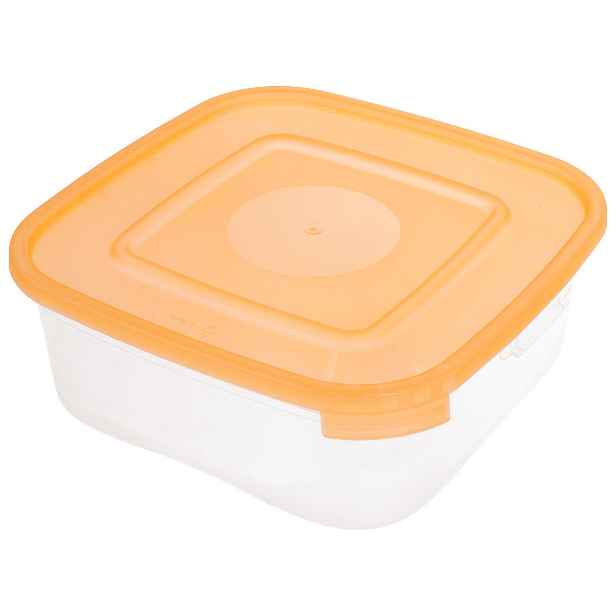 Контейнер Полимербыт Каскад, цвет: прозрачный, оранжевый, 1,4 лД Дачно-Деревенский 20Контейнер Полимербыт Каскад квадратной формы, изготовленный из прочного пластика, предназначен специально для хранения пищевых продуктов. Крышка легко открывается и плотно закрывается.Контейнер устойчив к воздействию масел и жиров, легко моется. Прозрачные стенки позволяют видеть содержимое. Контейнер имеет возможность хранения продуктов глубокой заморозки, обладает высокой прочностью. Подходит для использования в микроволновых печах.Можно мыть в посудомоечной машине.