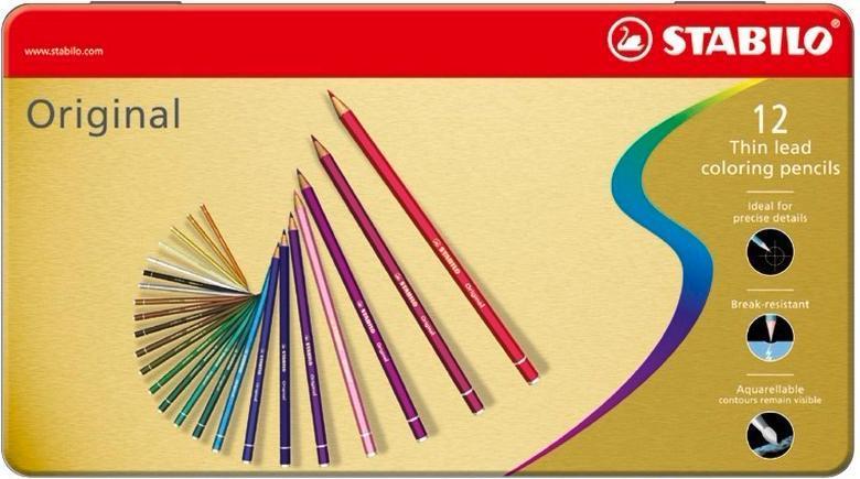 Набор цветных карандашей с тонким грифелем STABILO Original для графиков, художников 12 цв, металлический футляр72523WDВсе творческие натуры хотят иметь в своем распоряжении только лучшее. Представленный STABILO ассортимент и очень широкая палитра цветов способны удовлетворить самые разные потребности сторонников всевозможных иехник рисования. Высококачественные, насыщенные красители гарантируют тонкую проработку цвета. все карандаши обеспечивают легкую смешиваемость красок, мягкие, однородные по цвету линии. Высокая степень пигментации гарантирует особую яркость цвета и исключительную покрывающую способность даже на темном фоне, а также высокую устойчивость к свету. Краски STABILO не блекнут со временем. Светоустойчивость карандашей обозначается различным количеством звездочек на корпусе: от 5 звездочек - высокая степень светоустойчивости до 1 звездочки - достаточная светоустойчивость.