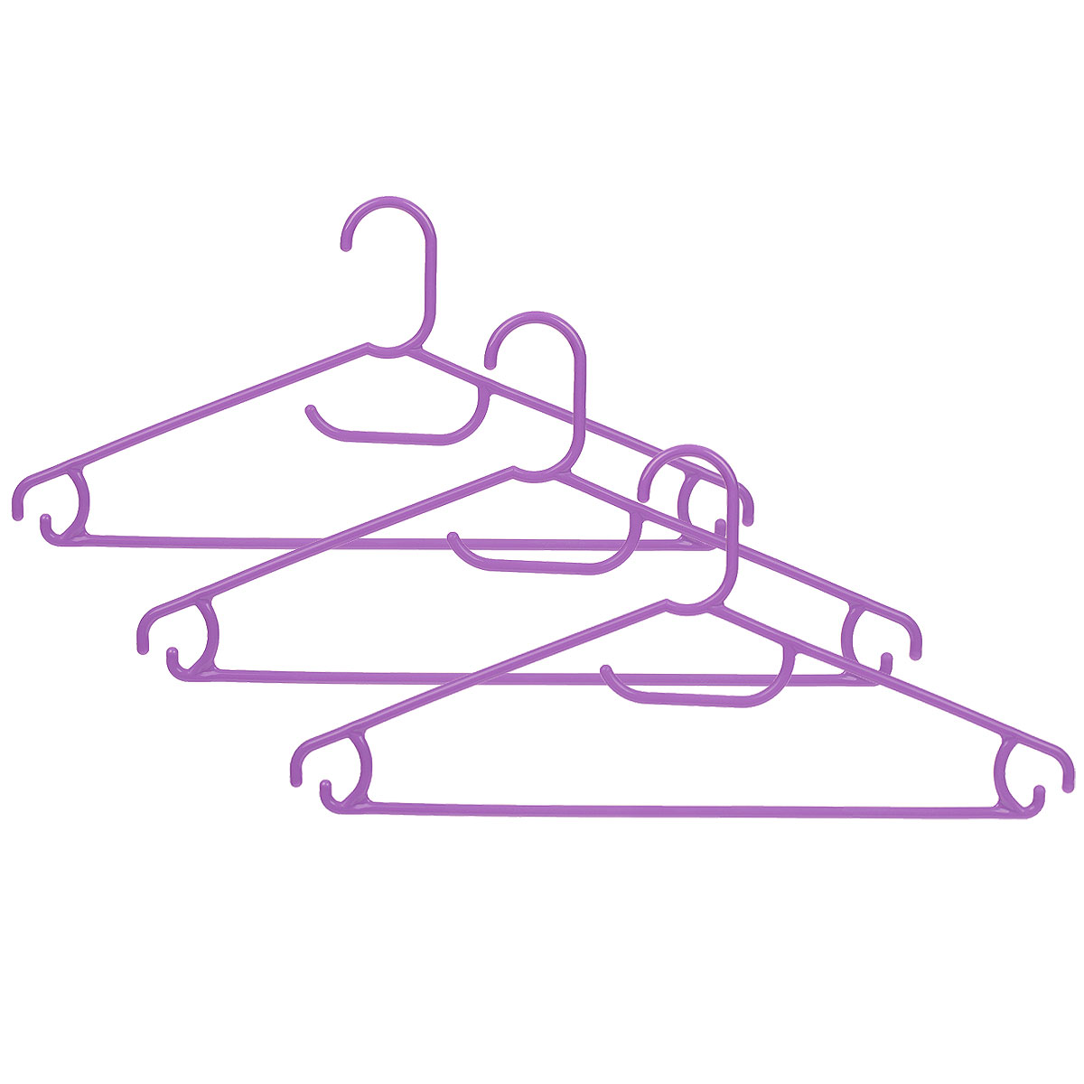 Набор вешалок Econova, цвет: сиреневый, размер 48, 3 штZ-0307Набор Econova, выполненный из прочного пластика, состоит из 3 вешалок.Каждое изделие оснащено перекладиной, боковыми крючками, а также крючком для галстуков. Вешалка - это незаменимая вещь для того, чтобы ваша одежда всегда оставалась в хорошем состоянии.Комплектация: 3 шт.Размер одежды: 48.