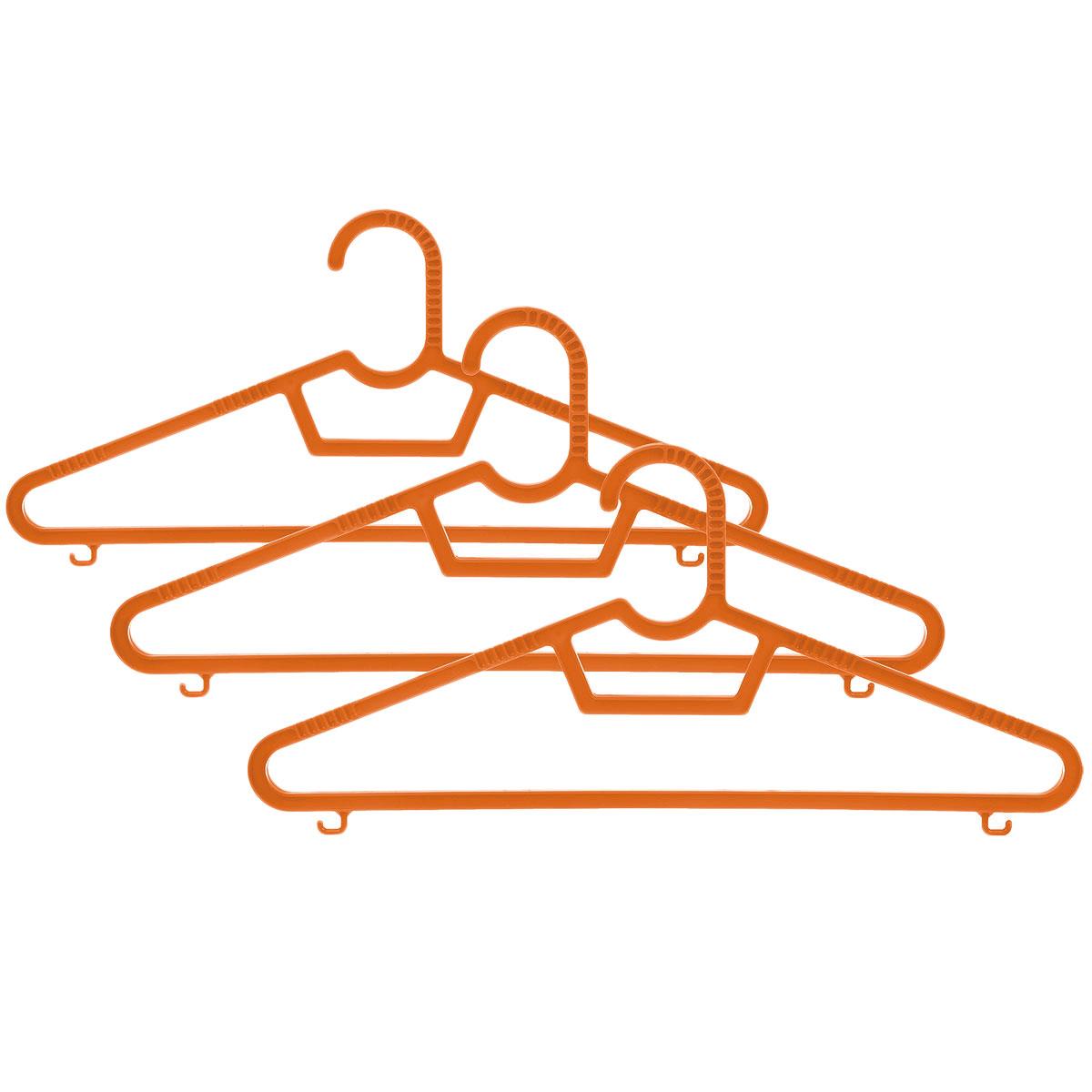 Набор вешалок Полимербыт, цвет: оранжевый, размер 40-42, 3 штPR-2WНабор вешалок Полимербыт выполнен из пластика. Изделия оснащены перекладинами и крючками. Вешалка - это незаменимая вещь для того, чтобы ваша одежда всегда оставалась в хорошем состоянии.Комплектация: 3 шт. Размер одежды: 40-42.