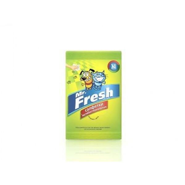Mr.Fresh Салфетки антибактериальные влажные для лап 15 шт0120710Влажные салфетки подходят для всех видов поверхностей, а также для лап животных. Уничтожают неприятные запахи. Обладают антибактериальными и противогрибковыми свойствами с пролонгированным действием. Не содержит спирта. Тип средства: Салфетки
