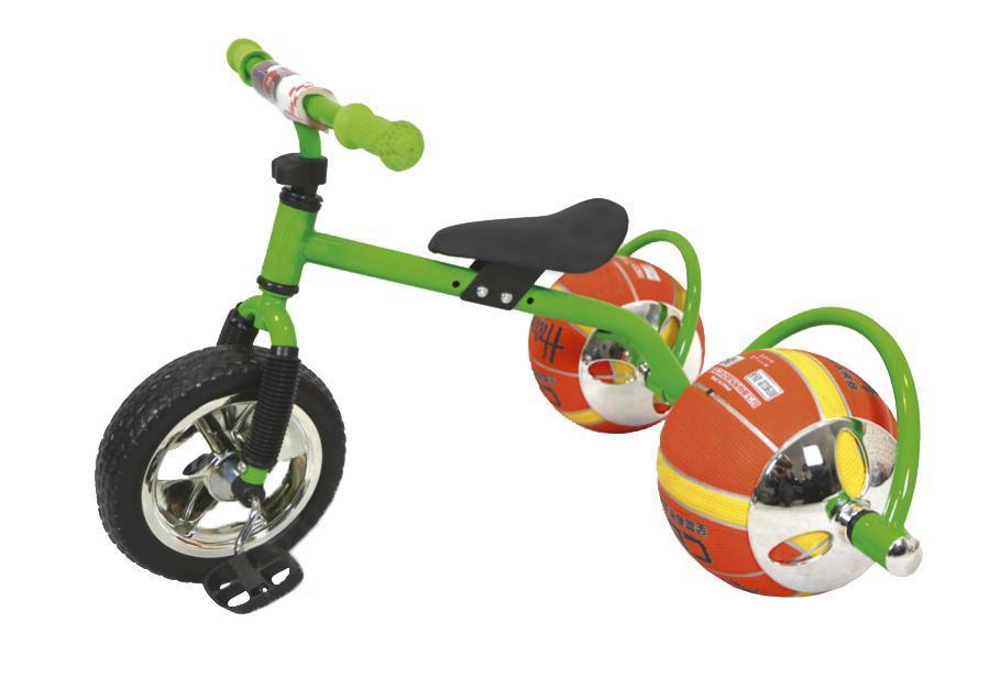 Велосипед детский Bradex Баскетбайк De 0051 Green20SH6V.EXTREME.GR5Велосипед - одно из самых простых и вместе с тем совершенных изобретений человечества. О своем велосипеде мечтает каждый ребенок. Что может сделать его лучше? Только мяч в виде колеса! Почему бы не совместить все лучшее в спорте в одном предмете? Удобно, практично, не занимает много места, а главное - надежно. Угнать такой байк - невозможно. Пока ваш ребенок играет с друзьями в мяч, его велосипед будет в полной безопасности. Средство передвижения выдерживает до 30 килограмм и подарит малышу множество счастливых спортивных часов. Увлеченный игрой он и не заметит, как улучшится работа легких, ноги станут более натренированными, улучшится координация, а сам он приобретет полезную привычку – заниматься спортом – которая улучшит его жизнь. Подарите своему ребенку шанс на здоровое, счастливое будущее. Увлеките его спортом, с помощью оригинального велосипеда с мячами вместо колес!Материал: металл, PVC, пластик. Мяч используется в качестве колеса. Так же его можно снять и использовать в качестве обычного мяча. Велосипед выдерживает до 30 килограмм.