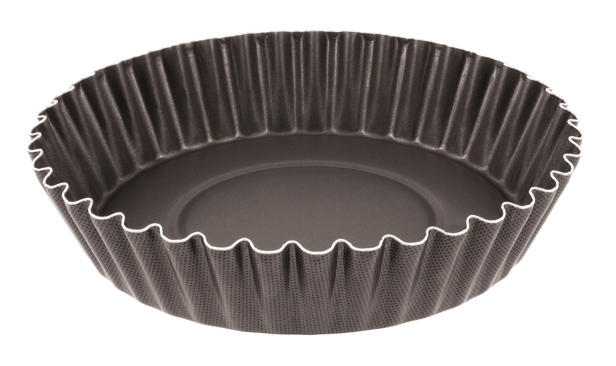 Форма для пирога Tefal Natura, с волнистыми краями, диаметр 26 смFS-91909Форма для пирога Tefal Natura с волнистыми краями выполнена из переработанного алюминия, обладающего большой износостойкостью и надежностью, и не содержащего вредных для организма веществ (PFOA, кадмий, свинец).Технология Cuisson Homogene способствует оптимальному распределению тепла.Антипригарное покрытие Demoulage Parfait не даст пригореть выпечке, способствует оптимальному пропеканию теста. Форму легко чистить и мыть. Можно мыть в посудомоечной машине.Диаметр формы: 26 см.Высота стенок формы: 6 см.