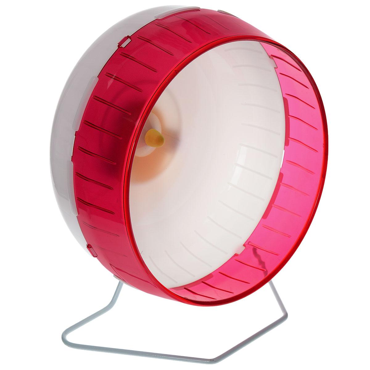 Колесо для грызунов I.P.T.S., цвет: белый, малиновый, 29 см0120710Колесо для грызунов I.P.T.S. удобно и бесшумно, с высоким уровнем безопасности. Поместив его в клетку, вы обеспечите своему питомцу необходимую физическую активность. Сплошная внутренняя поверхность без щелей убережет питомца от возможных травм. Можно установить на подставку или прикрепить к решетке. Колесо можно использовать для сирийских хомяков, дегу, крыс или молодых шиншилл. Диаметр колеса: 29 см.