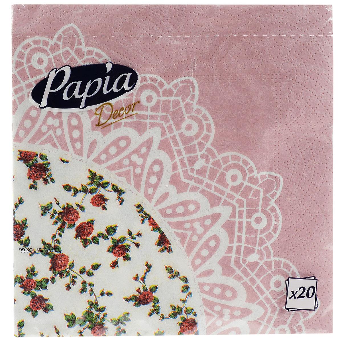Салфетки бумажные Papia Decor, трехслойные, цвет: белый, розовый, 33 x 33 см, 20 шт391602Трехслойные салфетки Papia Decor, выполненные из 100% целлюлозы, оформлены красивым цветочным рисунком. Салфетки предназначены для красивой сервировки стола. Оригинальный дизайн салфеток добавит изысканности вашему столу и поднимет настроение. Размер салфеток: 33 см х 33 см.