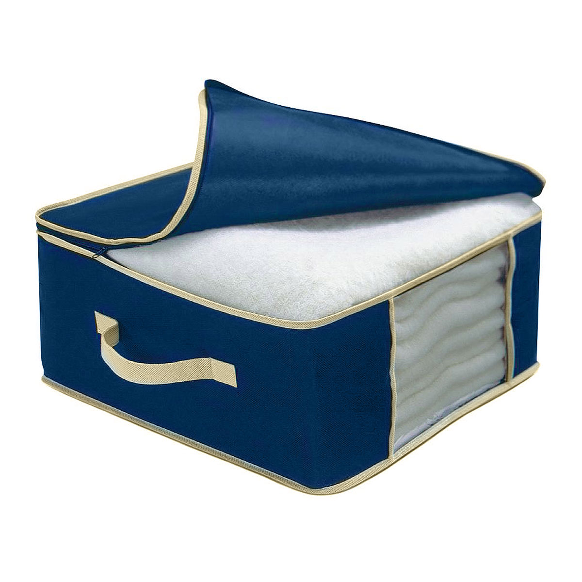 Чехол для одеяла Cosatto, цвет: синий, 45 х 45 х 20 смПЦ3722Чехол для одеяла Cosatto изготовлен из дышащего нетканого материала (полипропилена), безопасного в использовании. Подходит для одинарных шерстяных или одинарных пуховых одеял. Имеет прозрачное окно и застежку-молнию по периметру, а также ручку для переноски.