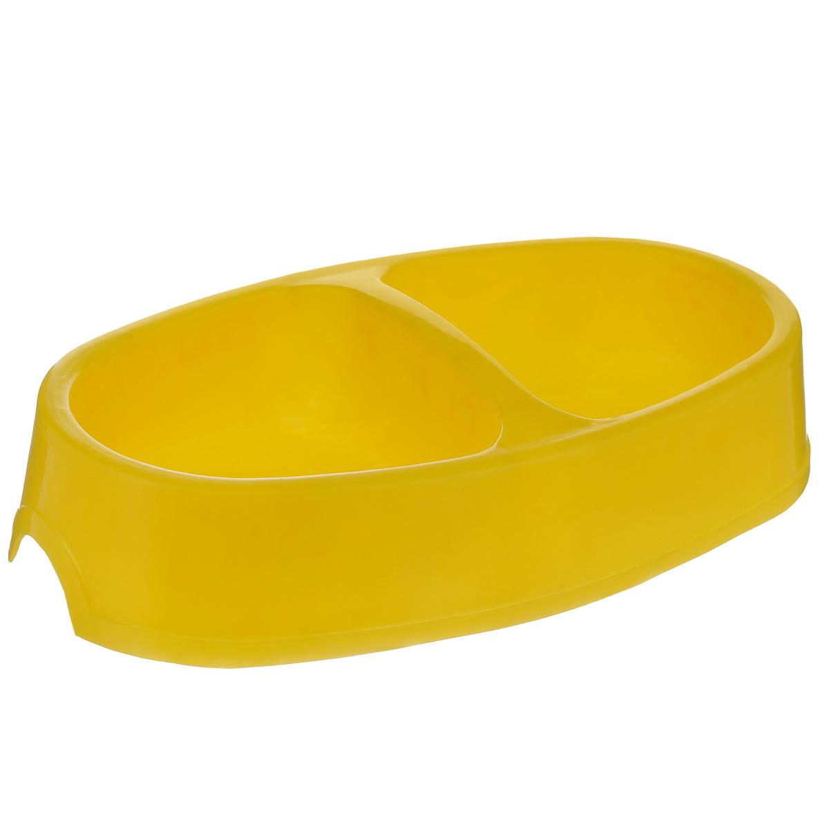 Миска для собак I.P.T.S., двойная, цвет: желтый, 2 х 400 мл0120710Двойная миска I.P.T.S. - это функциональный аксессуар для собак. Изделие выполнено из высококачественного цветного пластика. В миску можно положить два разных блюда - в каждое отделение. Миска легко моется. Ваш любимец будет доволен!Объем одной емкости: 400 мл. Размер емкости: 12 см х 13 см. Высота миски: 5,5 см.