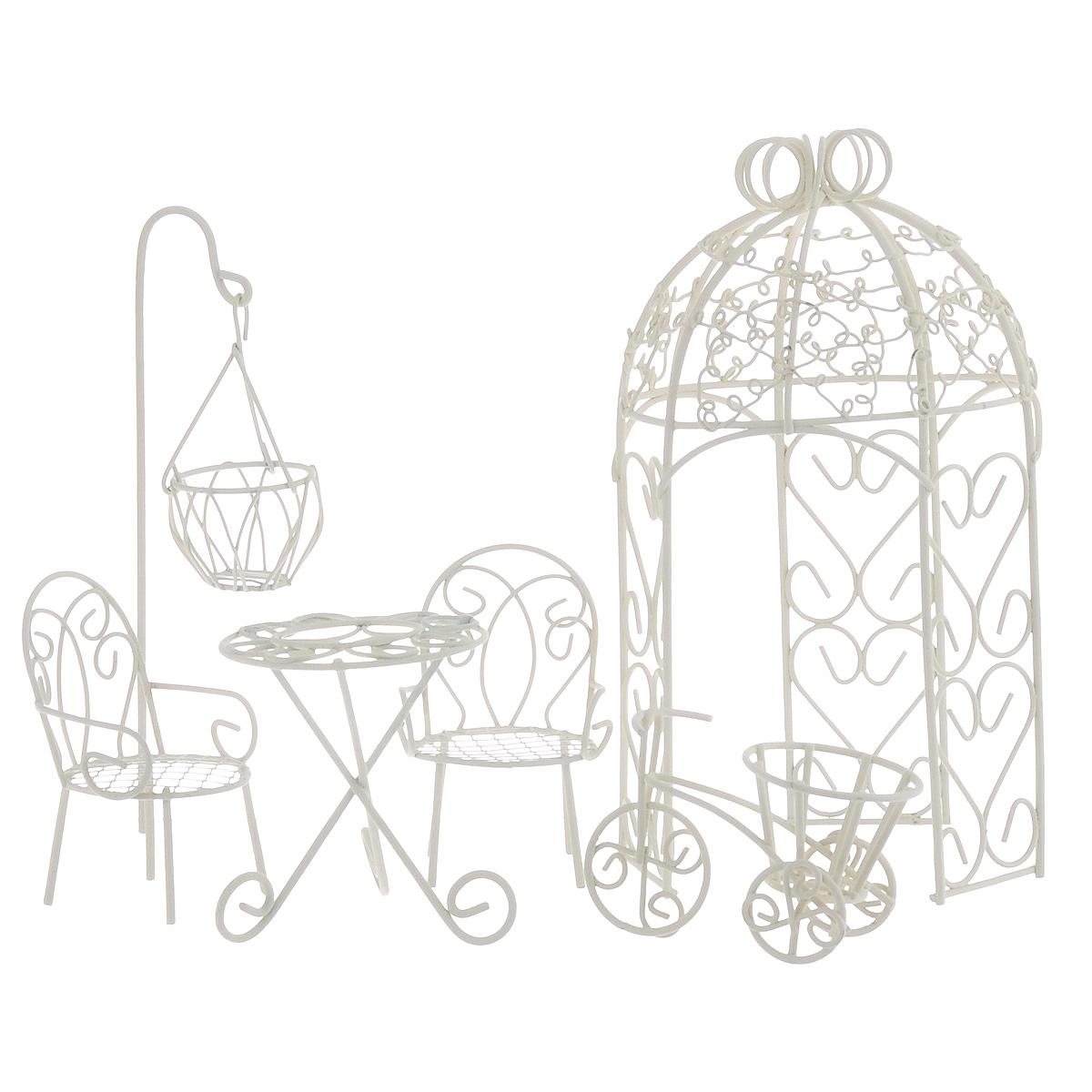 Миниатюра кукольная Bloom`its  Садовый декор , цвет: белый, 6 предметов - Игрушки своими руками