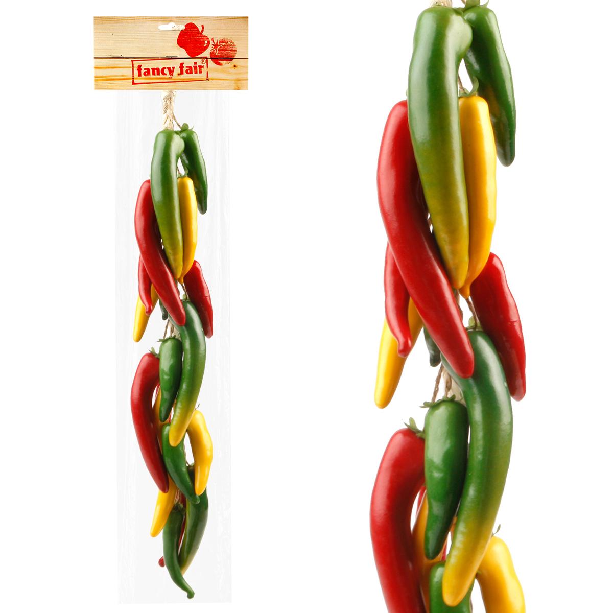 """Муляж Fancy Fair """"Перец чили"""" в связке, цвет: бордовый, зеленый, желтый, длина 60 см"""