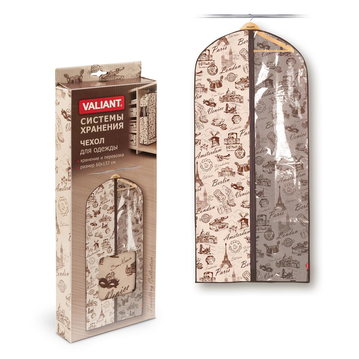 Чехол для одежды Valiant Travelling, 60 см х 137 см8812Чехол для одежды Valiant Travelling изготовлен из высококачественного нетканого материала (спанбонда), который обеспечивает естественную вентиляцию, позволяя воздуху проникать внутрь, но не пропускает пыль. Чехол очень удобен в использовании. Специальная прозрачная вставка позволяет видеть содержимое внутри чехла, не открывая его. Чехол легко открывается и закрывается застежкой-молнией. Идеально подойдет для транспортировки и хранения одежды. Оригинальный дизайн погружает в атмосферу путешествий по разным городам и странам.Системы хранения в едином дизайне сделают вашу гардеробную красивой и невероятно стильной.