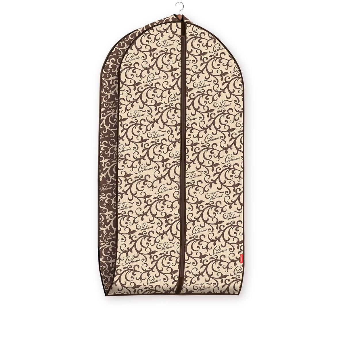 Чехол для одежды Valiant Classic, объемный, 60 х 100 х 10 см1004900000360Чехол для одежды Valiant Classic изготовлен из высококачественного нетканого материала, который обеспечивает естественную вентиляцию, позволяя воздуху проникать внутрь, но не пропускает пыль. Чехол очень удобен в использовании. Наличие боковой вставки увеличивает объем чехла, что позволяет хранить крупные объемные вещи. Чехол легко открывается и закрывается застежкой-молнией. Идеально подойдет для хранения одежды и удобной перевозки. Оригинальный дизайн Classic придется по вкусу ценительницам прекрасного. Изысканный благородный узор будет гармонично смотреться в современном классическом интерьере.