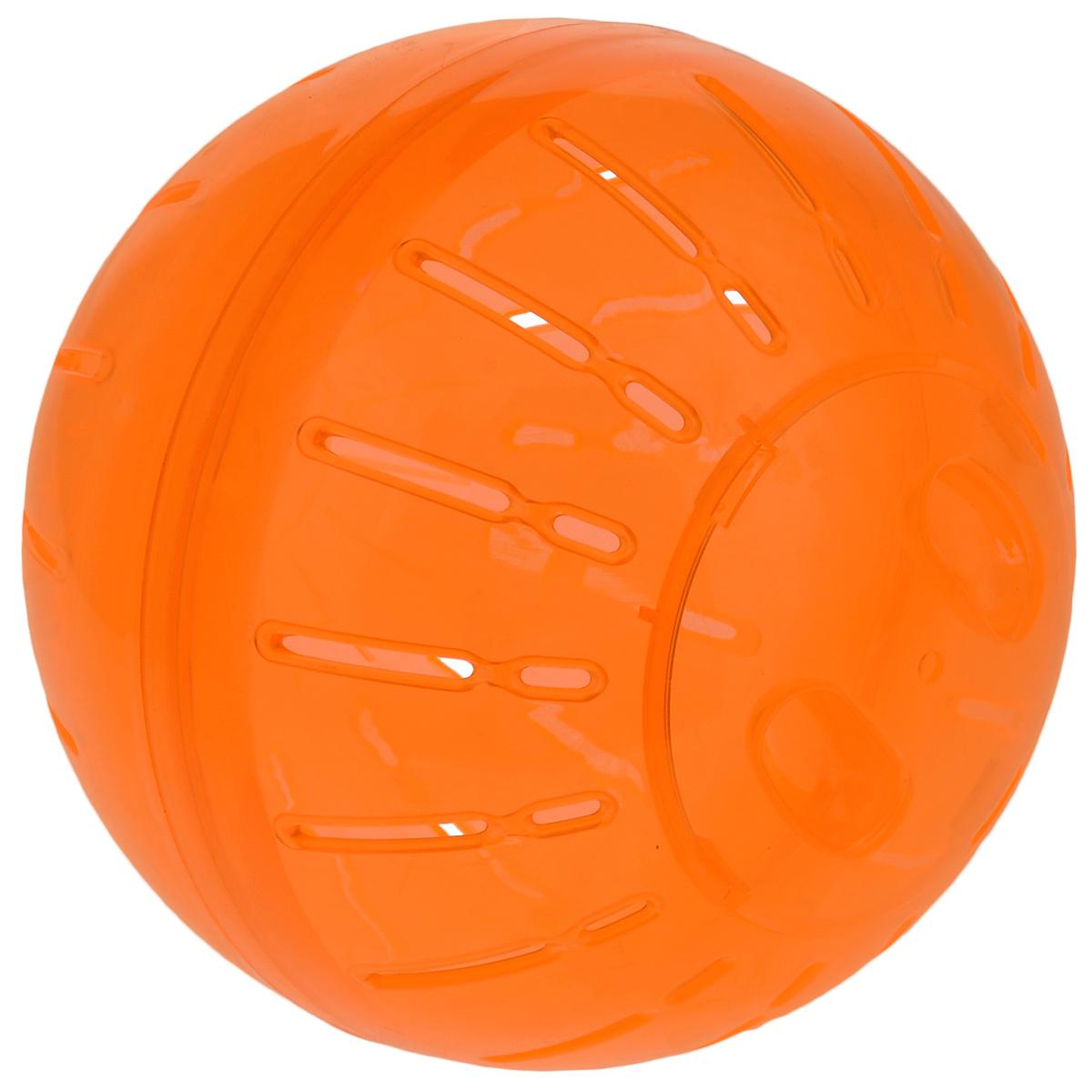 Игрушка для грызунов Triol Шар прогулочный, цвет: оранжевый, диаметр 19 см0120710Шар прогулочный Triol - это игрушка для грызунов, изготовленная из нетоксичного высококачественного пластика. Шар легко моется. Устойчивая конструкция с защелкивающимися дверцами обеспечит безопасность и предохранит вашего питомца от побега. Большие вентиляционные отверстия обеспечивают хорошую циркуляцию воздуха, а специально разработанные выступы для лап - удобство при передвижении. Прогулка в таком шаре обеспечит грызуну нагрузку, а значит, поможет поддержать хорошую физическую форму. Чтобы правильно подобрать шар, следует измерить длину животного: диаметр шара должен быть чуть больше, чем длина вашего питомца.Диаметр шара: 19 см.